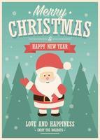 cartão de feliz natal com o papai noel em fundo de paisagem de inverno vetor