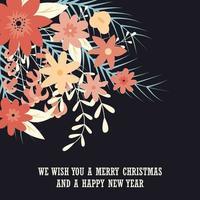 tipografia cartão de feliz natal com elementos decorativos florais vetor