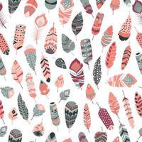 padrão sem emenda com boho vintage tribal étnico colorido penas vibrantes