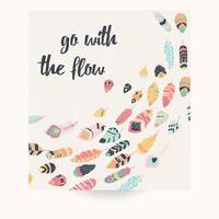 design de cartão postal com citações inspiradoras e penas coloridas boêmias vetor