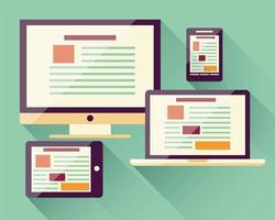 coleção de ícones planos, telefone inteligente móvel, laptop, computador, tablet, dispositivos eletrônicos