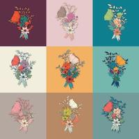 Conjunto de elementos desenhados à mão de bouquet de flores, decoração botânica e floral