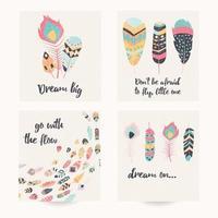 postal com citações inspiradoras e penas coloridas boêmias vetor