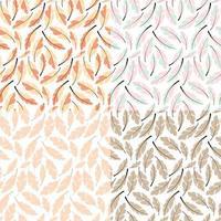 coleção de quatro designs de padrão sem emenda com penas boêmias desenhadas à mão