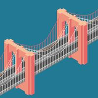 Ponte de Brooklyn New York Isometric Illustration vetor