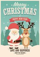 cartão de feliz natal com papai noel e renas em fundo de inverno vetor