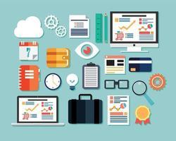 coleção de ícones de design plano, computador e dispositivos móveis, computação em nuvem, comunicação vetor