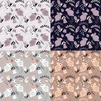 coleção de quatro padrões sem emenda com coelhos, joaninhas, pássaros e flores vetor