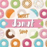 design de pôster com rosquinhas saborosas coloridas e brilhantes para uma loja de donuts vetor