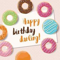 design de cartão de aniversário com rosquinhas saborosas coloridas vetor