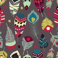 padrão sem emenda com boho vintage tribal étnico colorido penas vibrantes vetor