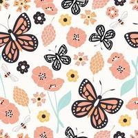 padrão sem emenda com flores, elementos florais e borboletas, vida natural
