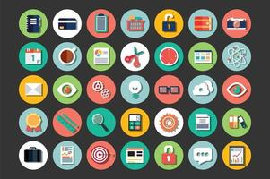 coleção de ícones de design plano, computação em nuvem, comunicação vetor