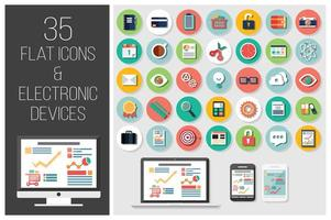 35 ícones planos da web e 4 dispositivos eletrônicos vetor