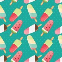 padrão sem emenda de sorvete, fundo colorido de verão, doces deliciosos vetor
