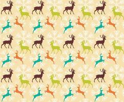 padrão sem emenda com renas e flocos de neve de natal vetor