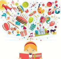 conceito de imaginação - menina lendo um livro com balão de ar, foguete e avião voando vetor