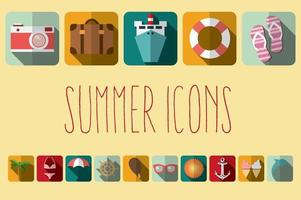 ícones planos de férias de verão com sombra longa, elementos de design vetor