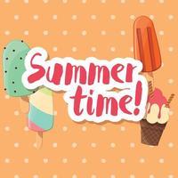 design de pôster com sorvete brilhante colorido vetor