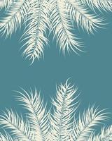 design tropical com folhas de palmeira baunilha e plantas em fundo azul vetor