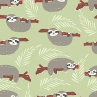 padrão sem emenda com fofas preguiças da selva em fundo verde vetor