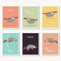 coleção de seis cartões com preguiça fofa e mensagem de texto vetor