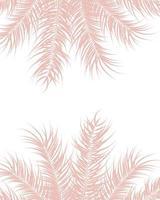 design tropical com folhas de palmeira rosa e plantas em fundo branco vetor