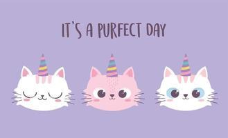gatos fofos rostos com chifres desenho animado animal personagem engraçado vetor