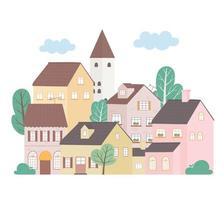 casas residenciais bairro arquitetura propriedade construção árvores projeto vetor