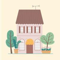 projeto de vista frontal de jardim residencial de casa de vários andares vetor