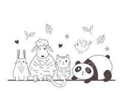 animais fofos esboço vida selvagem desenho adorável ovelha panda coelho gato e pássaro vetor