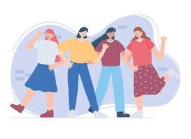 feliz dia da amizade, celebração de evento especial de relacionamento de unidade de mulheres do grupo de jovens vetor