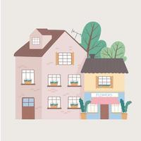 projeto de desenho animado exterior de casa residencial e fachada de prédio comercial vetor