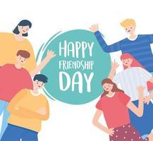 feliz dia da amizade, celebração de evento especial de grupo de pessoas de amigos diversos vetor