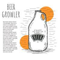 Ilustração desenhada mão do vetor do growler da cerveja desenhada mão
