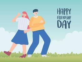 feliz dia da amizade, menino e menina comemorando ao ar livre, celebração de evento especial vetor