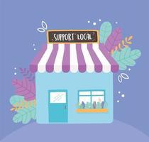 apoiar negócios locais, fazer compras em um pequeno mercado com fachada em outdoor vetor