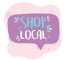 apoiar o negócio local, comprar promoção de texto desenhado à mão de pequeno mercado vetor
