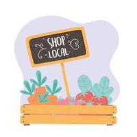 apoiar o comércio local, loja de pequeno mercado, cesta de madeira com produtos frescos vetor