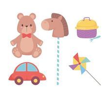 objetos de brinquedos para crianças pequenas brincarem de carro de pelúcia de desenho animado e cavalo em pau vetor
