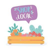 apóie o comércio local, compre alimentos orgânicos de frutas e vegetais em pequenos mercados vetor