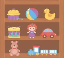 objeto de brinquedos para crianças pequenas brincarem de desenho animado na prateleira de madeira vetor