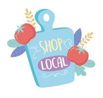 apóie negócios locais, compre pequenos textos de tabuleiro de mercado e vegetais vetor