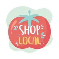 apoiar negócios locais, comprar tomate de colheita de pequeno mercado vetor