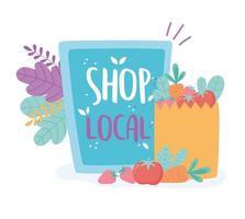 apoiar negócios locais, fazer compras em um pequeno mercado, papelão e sacola de papel com alimentos vetor