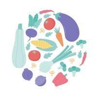 desenho animado fresco vegetal orgânico berinjela tomate cenoura rabanete pimenta brócolis milho design vetor