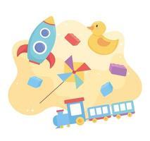 objetos de brinquedos para crianças pequenas brincarem com cata-vento de foguete de desenho animado e trem vetor