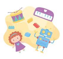 objetos de brinquedos para crianças pequenas brincarem com blocos de piano de bateria robô de desenho animado vetor