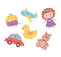objetos de brinquedos para crianças pequenas brincarem de boneca de desenho animado urso pato avião e lancheira vetor