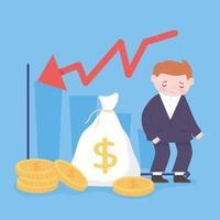 falência triste empresário saco de dinheiro moedas gráfico seta para baixo crise financeira empresarial